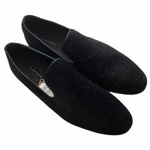 NWT Zara Men's Black Suede Embossed Loafers
